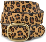 "1 "" 1/4 Leopard print hair calf leather belt"