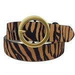 Tiger Print on Cow hair leather Belt