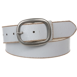 Casual vintage jean belt with Snap On Crack Print Vintage Stitching Edged Leather Belt Strap with Oval belt Buckle.