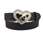1 1/8'' Crystallized Heart Belt Buckle in shiny silver with Rhinestones on it and  bright red interchangeable strap.