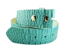 "1.5"" wide belt strap in Hornback croco print and leather lining"