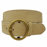 Genuine Suede Belt with Round Brass Buckle
