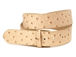Ostrich Print Leather Belt Strap with snaps