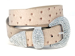 1.5'' Ostrich print leather belt