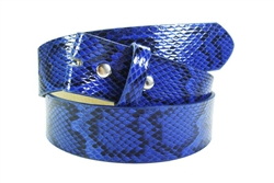 "1.5"" Leather lining  belt with snaps in Blue Python print"