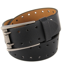 Casual Jeans belt with double prong buckle and double rows of holes laser cut design.
