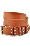 "1 1/8"" Plain Leatherette With Multi Studded Loop Belt With Roller Buckle."