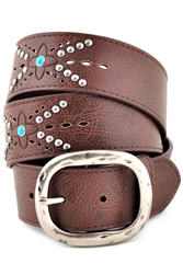 "1.5"" Casual  Jean Leather Belt with Studded  and Turquoise Details and oval antic silver buckle."