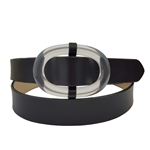 Vegan Plain Belt with Oval Clear Buckle.