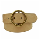 Vegan Suede Belt in Round Buckle