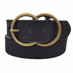 Vegan Suede Belt with Double Ring Buckle