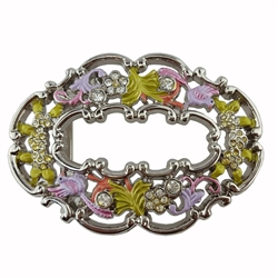 Cut-Out Oval Shape Colorful Flower Buckle.
