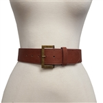 "Womens 2 "" Wide Belt  with Multi Stitching Detail on the  Edged with Silver Buckle."