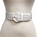 2¡± white leather muti strand braid in matching wrap buckle