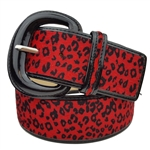 Ladies Patent Leather Leopard Print Animal Fur Fashion Belts