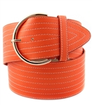 "2.75"" wide mulit-stitched belt with light gold buckle"
