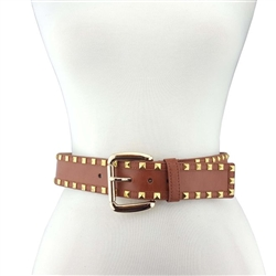 Wide Gold plated buckle with double row gold pyramid