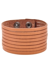 Oil Tanned Leather Stripes Wrist Band