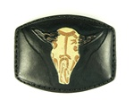 Ox Head Black Leather Buckle
