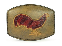 Leather Rooster Print Buckle