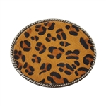 Oval Genuine calf hair print Leopard Western Belt Buckle