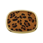 Oval leopard print  belt buckle