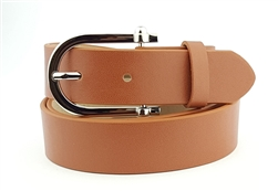 "1 1/8"" Plain nappa leatherette belt with shiny silver buckle."