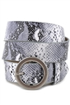 Vegan Leathrette Animal Print Belt with Round Buckle.