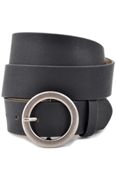 Vegan Plain Belt with Round Buckle.