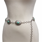 Western Turquoise Stone w.Oval Concho Chain Belt