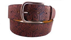 "1.5"" causal embossing belt with fleur de lis design"