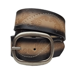 Two Tone Embossed Engraving belt With Stitching Detail and Oval Buckle.