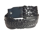 Leather braided belt strap