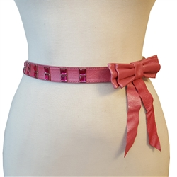 Pink Leather Bow Belt with Crystals