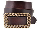 Oil Tanned Top Grain Genuine Vintage Retro Leather Belt with chain brass buckle.