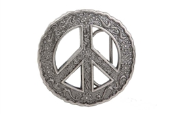 Peace Buckle with Floral Design.