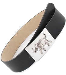 2 1/2'' ELEPHANT BUCKLE IN BLACK BELT.