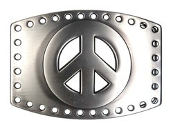 Plain Peace Sign Belt Buckle