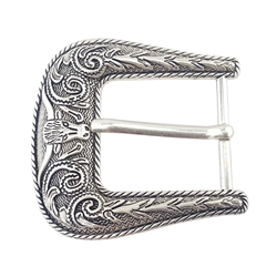 Sterling Silver Finish Western Buckle Long Horn