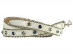 20mm White Snake Print Rhinestone Dog Leash in Pink/ Blue Rhinestones