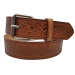 Embossing Leather Belt With Floral Pattern With Buckle