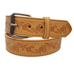 Embossing Leather Belt With Filigree Pattern With Buckle
