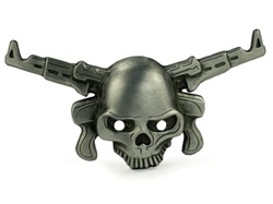 Pewter Skull with Double Gun Belt Buckle