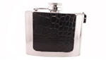 Flask buckle with crocodile print leather on the surface
