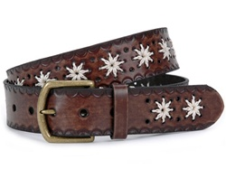 Flower Embossing Vintage Leather Belt