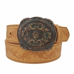 Western Floral Embossing Belt with Brass Patina Buckle