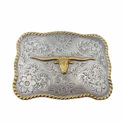 Western Silver/Gold Long Horn Buckle