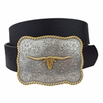 Quality Western Long Horn Buckle Belt