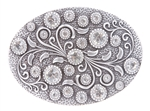 Rhinestone Flower Engraved Buckle