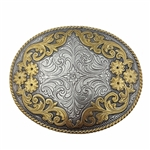 Western Oval Floral Two Tone Statement Buckle